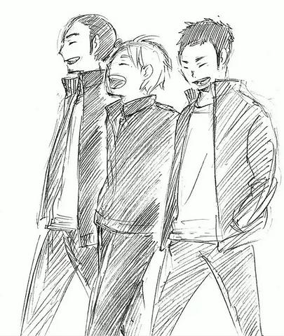 File:Daichi, Asahi, and Suga Walking Together.png