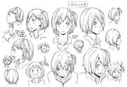 Hitoka Yachi's Official Concept Art Uncolored