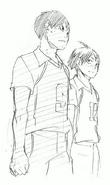 Kageyama and Yamaguchi Watching the Game