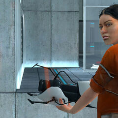 Chell seeing herself through a Portal in Test Chamber 04.