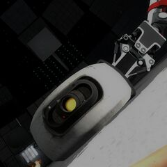 GLaDOS dragged back to her body in Wheatley's configuration of the room.
