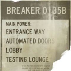 Breaker 135B sign, indication the names of the following areas.