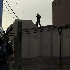 Metrocops shooting at Gordon Freeman at the back of the trainstation at the start of his escape.