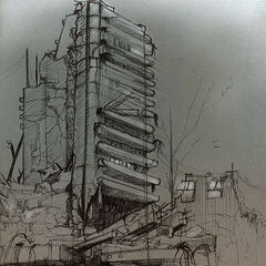 A destroyed City 17 skyscraper.
