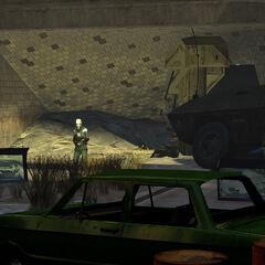 Metrocops firing two Emplacement Guns in a City 17 tunnel during the Uprising.