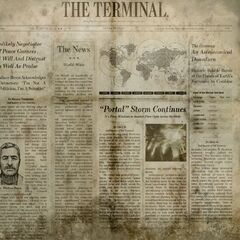 Breen on the front page of <i>The Terminal</i> from <i>Half-Life: Alyx</i>.