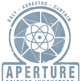 Aperture Science Innovators logo featured on the glass in the previous image. While it is not present there in the final game, it can be found in the game files, as well as different color variants on posters or the early Weighted Companion Cube.