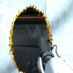 Early orange portal in the <i>Portal</i> trailer.