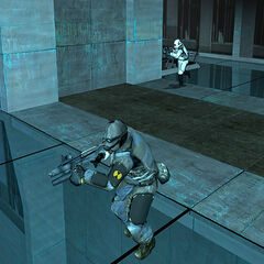 Overwatch Soldiers running in the Citadel, an Overwatch Elite among them.
