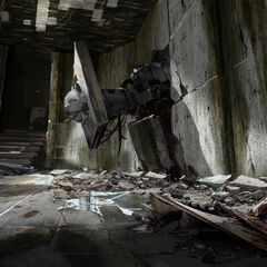 Concept art of a destroyed High Energy Pellet launcher in a ruined Test Chamber 07.