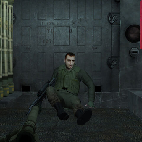Peter's inside the destroyed APC with a <a href=
