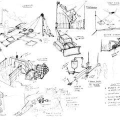 Concept art, including several retail and cut traps.