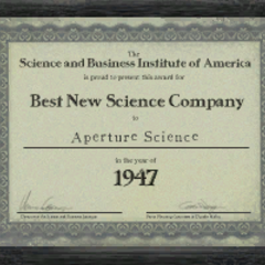 <i>Best New Science Company</i> award given to Aperture Science.