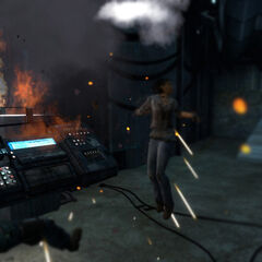 Alyx destroying the Barn Advisor's life support system.