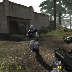 Early <i>Episode Two</i> screenshot of Overwatch Elites during the White Forest battle.