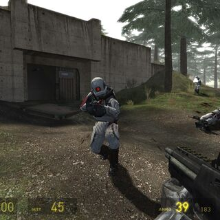 Early screenshot of Overwatch Elites during the battle, including one of the two cut bunkers.