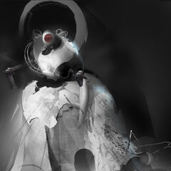 Concept art of a damaged GLaDOS.