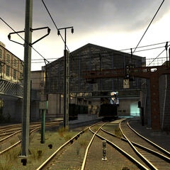 Main platforms from afar. As seen in early screenshots and the playable Beta, the Citadel originally appeared in the background.