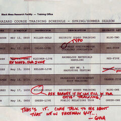 Hazard course training schedule from around the Black Mesa Incident.