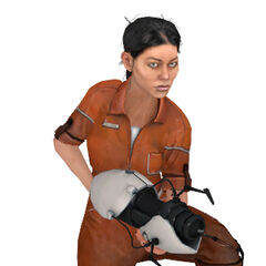 Chell's model crouching while holding the ASHPD.