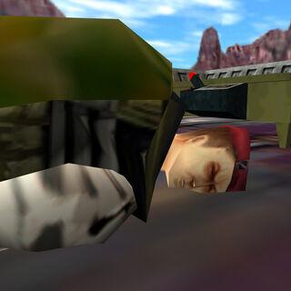 Closeup of Cooper lying dead.
