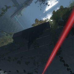Sentry Gun aiming its laser among ruins.
