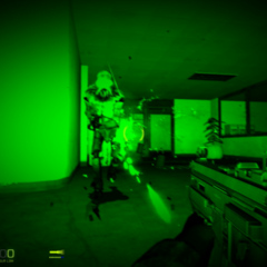 Urban Chaos Darkness Combating the Synth Soldier in Night-vision Screenshot.