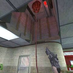 Early <i>Half-Life</i> viewmodel, with the attachment under the barrel.