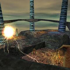 Barney Calhoun about to teleport from Xen through a portal.