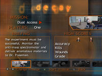 Decay menu