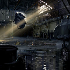 Concept art for an Advisor in the helicopter hangar, with the Mi-8 on the right.