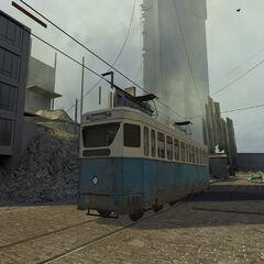 A tram in the map