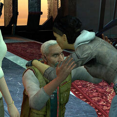 Alyx kissing her father on the forehead before pursuing Breen with Gordon.
