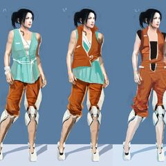 Concept art for different Chell outfits, with early Long Fall Boots.