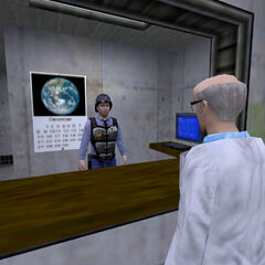 Scientist threatening a security guard.