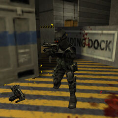 Black Op firing at Shock Troopers beneath a gibbed comrade.