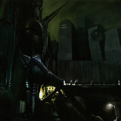 Concept art of Gordon arriving at the foot of the Citadel.