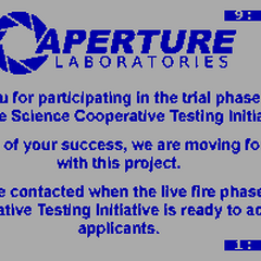The BBS image revealed during the <i>Portal</i> ARG, referring to the trial phase of the Aperture Science Cooperative Testing Initiative.