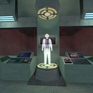 The hologram message addressed to Bennet in <i>Opposing Force</i>.