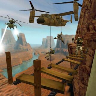 Early screenshot featuring an Osprey, not present there in the final game.