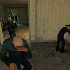 CPs beating Citizens with their Stun Batons during an apartment raid.