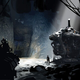 Concept art of Chell among ruins.