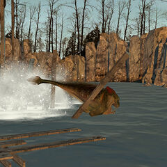 The Ichthyosaur after killing the Zombies and destroying the bridge.