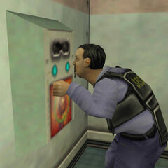 Security guard operating a retinal scanner at the start of <i>Opposing Force</i>.