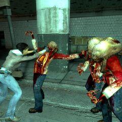Alyx fighting Zombies.