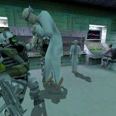 HECU soldiers beating up scientists.