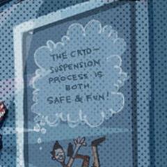 Propaganda poster for the cryo-suspension process.