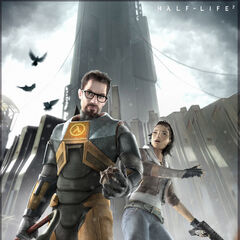 Gordon Freeman and Alyx Vance surrounded by Antlions in City 17, with pigeons flying on the left.
