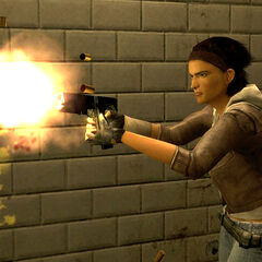 Alyx using her gun against Zombies and Overwatch Soldiers.