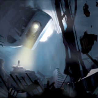 Album art for <i>Portal 2: Songs To Test By</i>, featuring a rebooted GLaDOS.